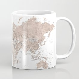 Adventure Awaits, brown watercolor world map with US state capitals Coffee Mug