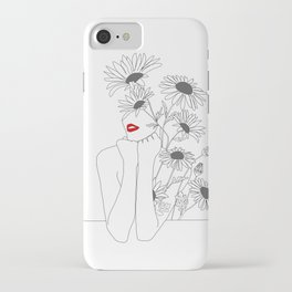Minimal Line Art Girl with Sunflowers iPhone Case