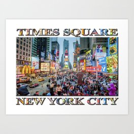 Times Square Tourists (with type) Art Print