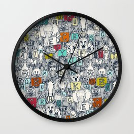 animal ABC indigo multi Wall Clock