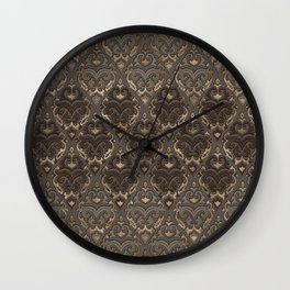 Oriental Pattern -Pastels and Brown Leather texture Wall Clock