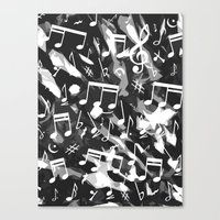 music notes Canvas Prints featuring MUSIC NOTES  by raspaintings