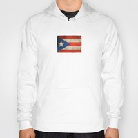 puerto rico Hoodies featuring Old and Worn Distressed Vintage Flag of Puerto Rico by Jeff Bartels