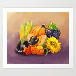 Commisions | Bat autumn harvest Art Print
