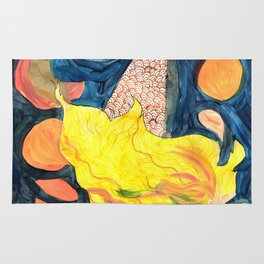 gold, Yellow and blue mermaid Rug
