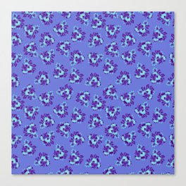 Bright Vintage Floral in Blue Canvas Print
