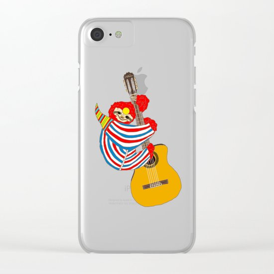 Bowie Sloth Vintage Guitar Clear iPhone Case