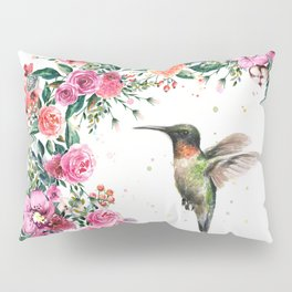 Hummingbird and Flowers Watercolor Animals Pillow Sham