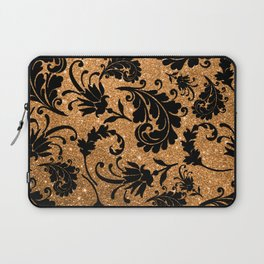 Vintage black faux gold glitter floral damask pattern Laptop Sleeve