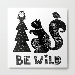 Be Wild Cute Owl And Squirrel In Scandinavian Style Metal Print