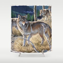 Wolf in winter forest Shower Curtain