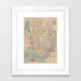 Vintage Map of Boston MA (1882) Framed Art Print