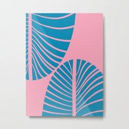 Blue Tropical Palm Minimal. Zen Art Metal Print