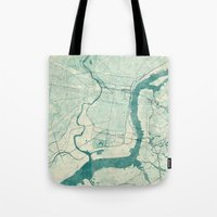 philadelphia Tote Bags featuring Philadelphia Map Blue Vintage by City Art Posters