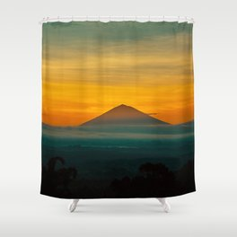 Mountain Volcano In The Distant Green Yellow Orange Sunset Hues Landscape Photography Shower Curtain
