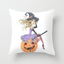 Beautiful Witch on The Pumpkin Throw Pillow