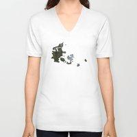 denmark V-neck T-shirts featuring Denmark by Isabel Moreno-Garcia