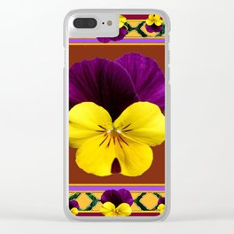 MAROON PURPLE & YELLOW SPRING PANSIES  GARDEN Clear iPhone Case