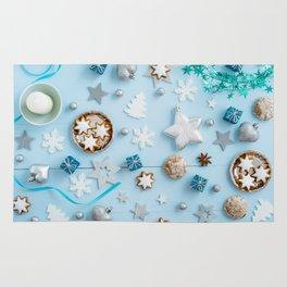 Blue Christmas decoration on wood Rug