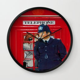 Red London Phone Boxes Wall Clock