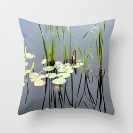Pond grass and lily pads Throw Pillow