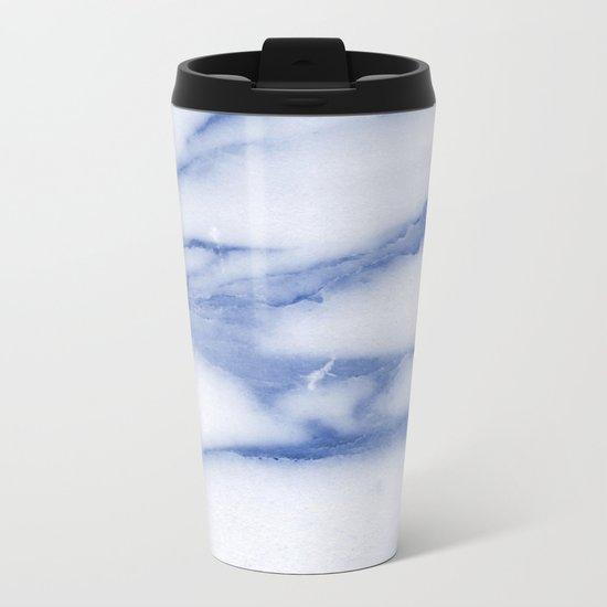 Blue Skies Marble Metal Travel Mug
