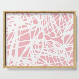 Blush pink white abstract whimsical pop art pattern Serving Tray