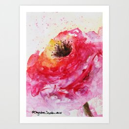 Big Pink Rose Blossom watercolor by CheyAnne Sexton Art Print