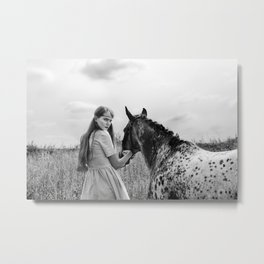 Girl with horse Metal Print