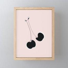 Les Cerises -Pink & Black Cherry Line Art Framed Mini Art Print
