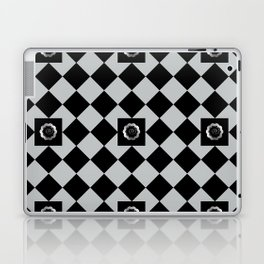 Metallic look grey and black abstract floral checkered pattern Laptop & iPad Skin