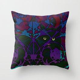 Art Nouveau Visible Cat Throw Pillow