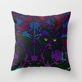 Art Nouveau Visible Cat Throw Pillow