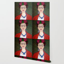 Frida portrait with dalias Wallpaper