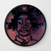 basquiat Wall Clocks featuring basquiat by joseph arruda (zeruch)