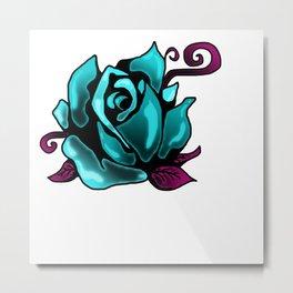 Aqua Rose Metal Print