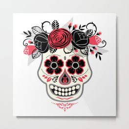 Day of the Dead Black and red floral sugar skull Metal Print