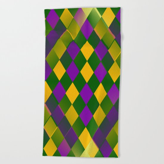 Harlequin Mardi Gras pattern Beach Towel