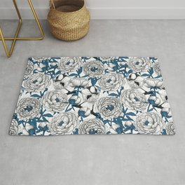 White peonies and blue tit birds Rug