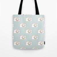 vintage camera Tote Bags featuring Camera by Little Owl Oddities