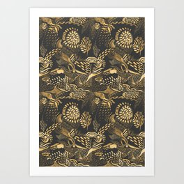 golden birds in the paisley forrest Art Print