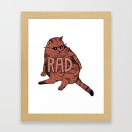 Rad Cat (Maroon) Framed Art Print