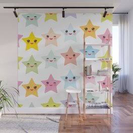 Kawaii stars pattern, face with eyes, pink green blue purple yellow Wall Mural