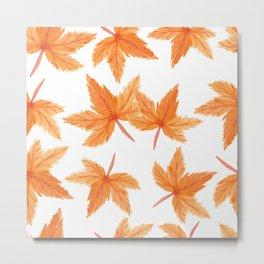 Autumn Watercolor Orange Watercolor Fall Leaves Metal Print
