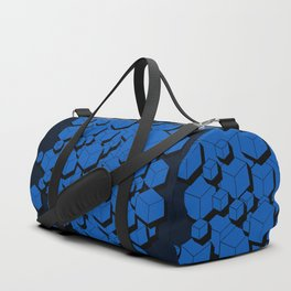 3D Cobalt blue Cubes Duffle Bag