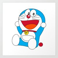doraemon Art Prints featuring Happy DORAEMON #1 by Timeless-Id