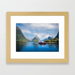 A Boat Cruise at Milford Sound, New Zealand Framed Art Print