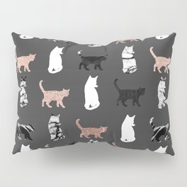 Kitty Cats in Rose Gold and Black and White Marble Pillow Sham