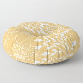 Floral Prints and Leaves, Line Art, Yellow Floor Pillow