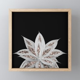 Gray Agave with Rose Gold Glitter #2 #shiny #tropical #decor #art #society6 Framed Mini Art Print